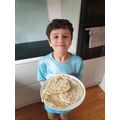 Henry has been busy making flatbreads..
