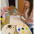 Gwen's painting in progress
