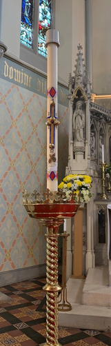 We decorate the Paschal Candle every year.