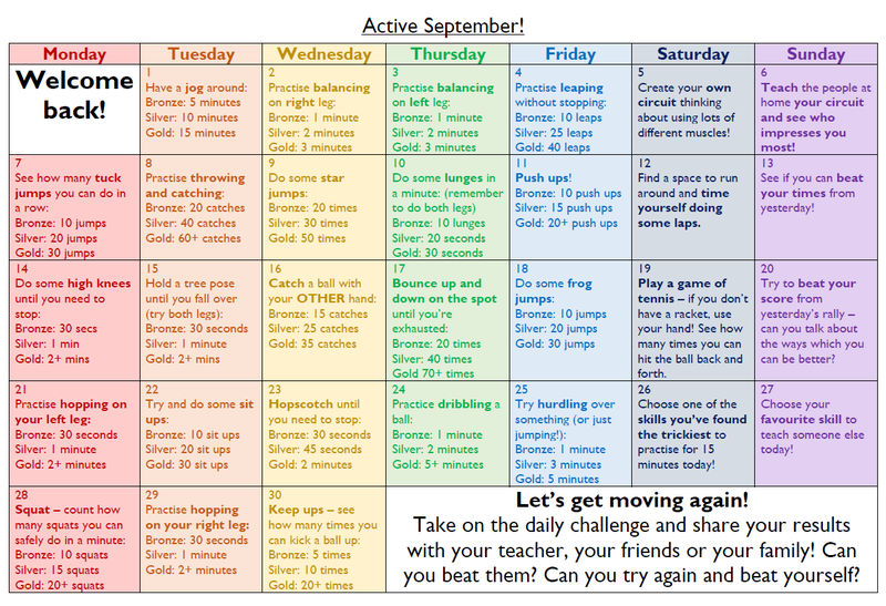Try some of these activities to get actve this Septmber!