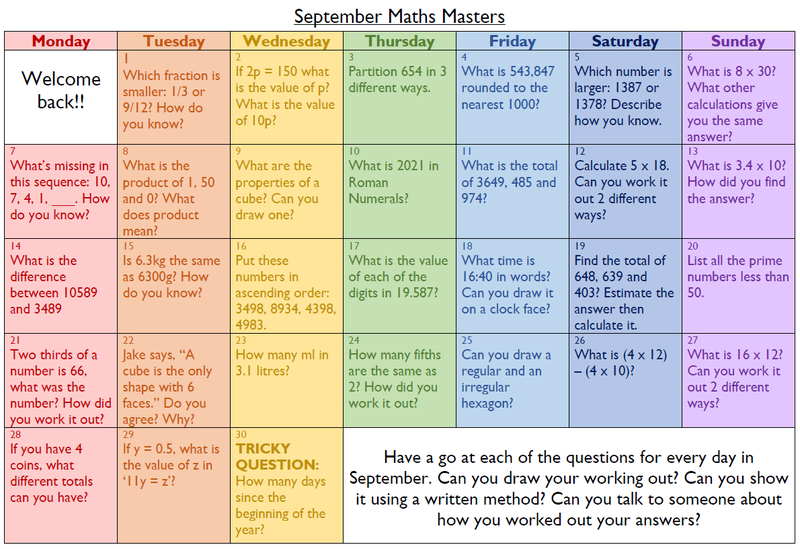 Year 5 and Year 6 Maths calendar for September