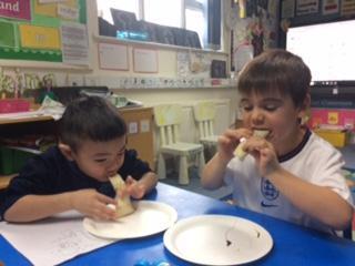 Eating the pancakes!