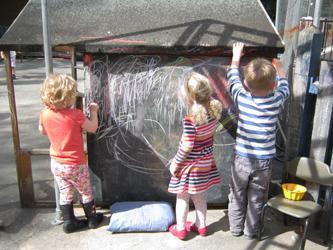 children chalking
