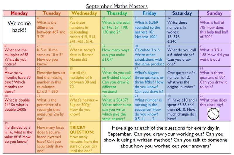 Year 3 and Year 4 (LKS2) maths calendar
