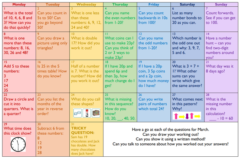 Maths activities to try at home!