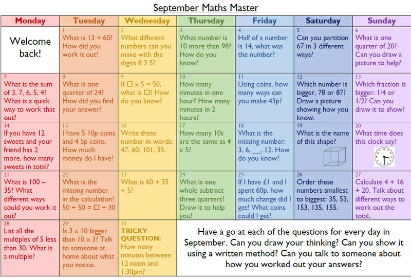 Year 2 and Year 3 Maths calendar for September