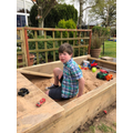 Alfie has enjoyed playing in his sand pit!