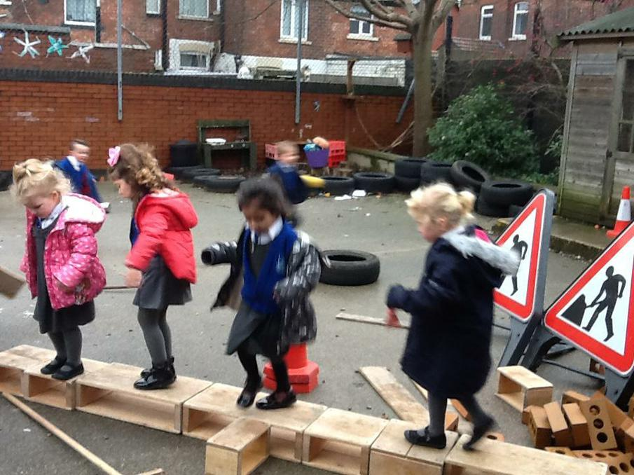 Following instructions on an obstacle course.