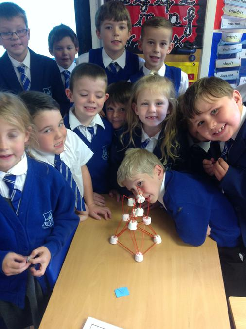 We built a lighthouse with marshmallows and straws
