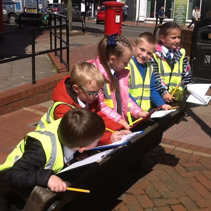 Year 1 completing a traffic survey.