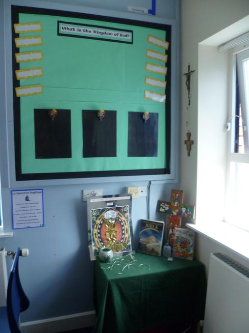 Our worship table and RE display.