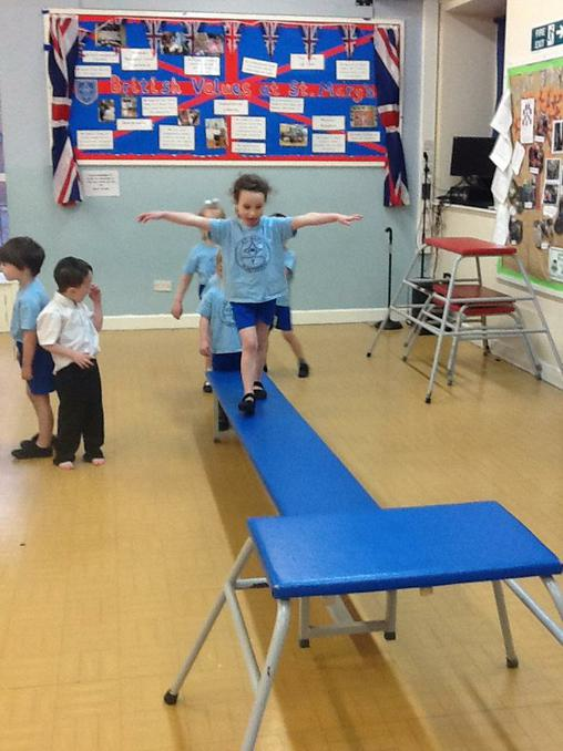 Balancing, jumping and landing safely in PE.