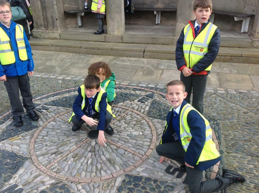 Year 3 boys using the compass.