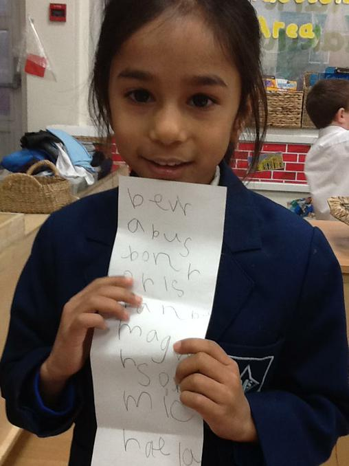 Using phonics to write a fruit and vegetable list.