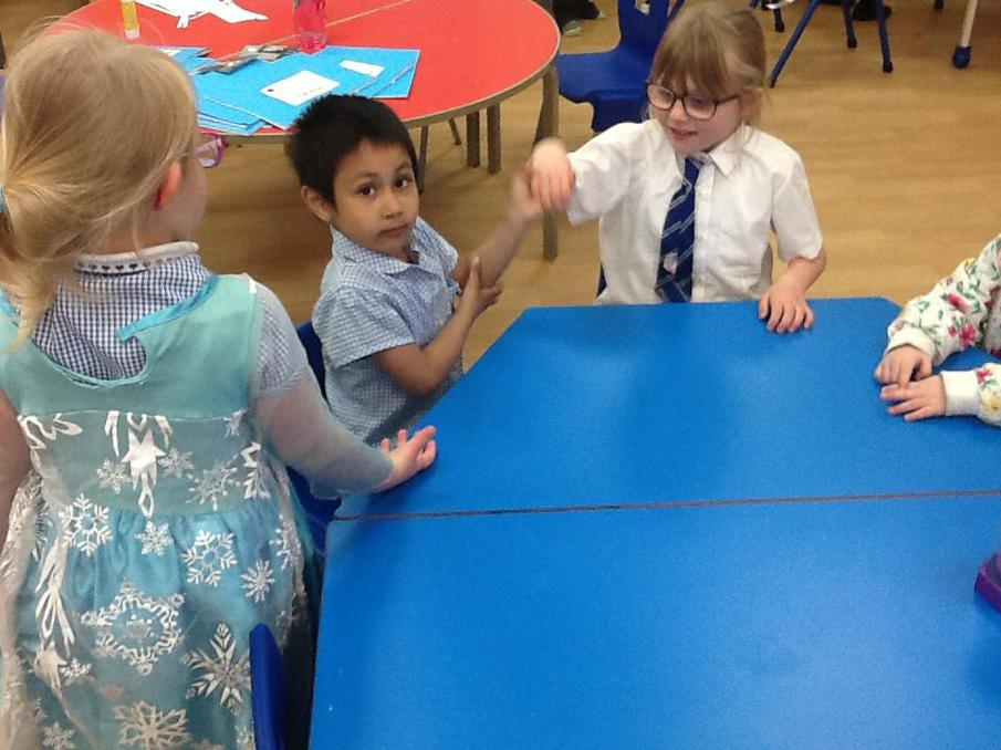 Acting out Jesus returning to his disciples.