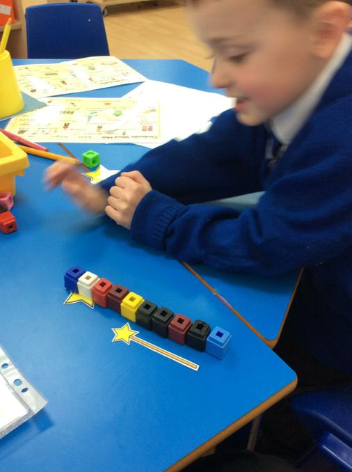 Measuring with cubes.