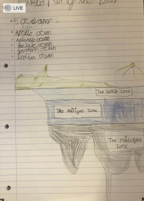 Rosie's ocean names and underwater zones diagram