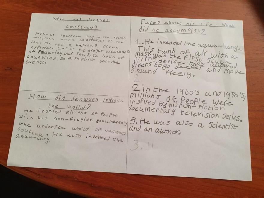 Ella's Cousteau biography notes