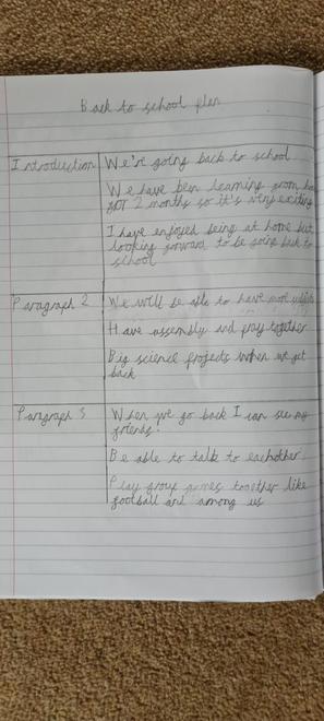 Sam's back to school paragraphs plan