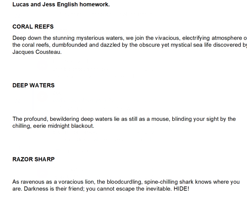 Jess and Lucas underwater sentences