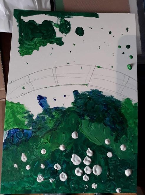 Sam's art in progress