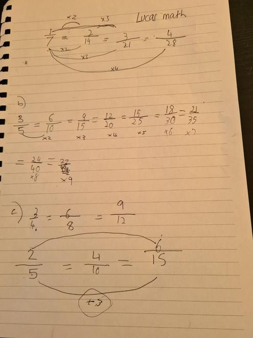 Lucas's equivalent fractions