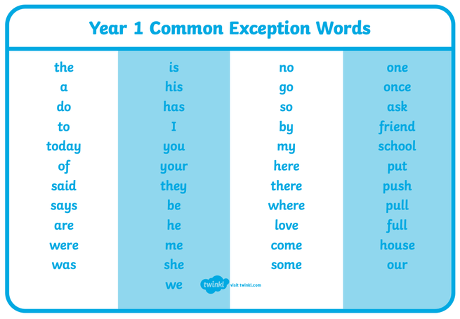 Year 1 Common Exception Words