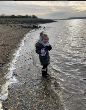 Mila, walking by the lake