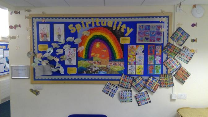 A whole school display on spirituality learning