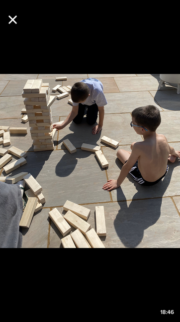Giant Jenga made by a family member