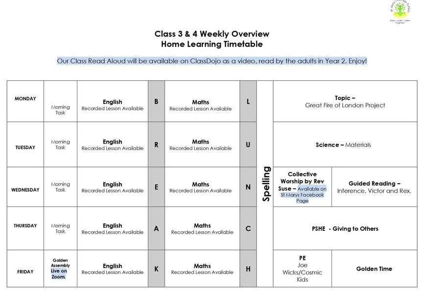 A timetable to help structure your day.