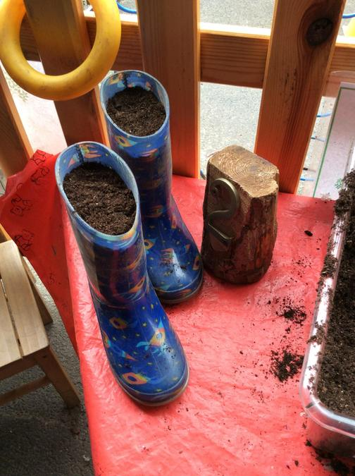 Planting in wellies