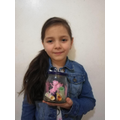 This young lady has made a worry jar so she can keep her worries in there.