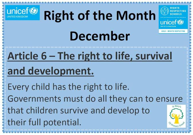 The Right of the Month for December is Article 6.