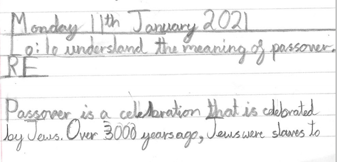 L has written a paragraph to explain the festival of Passover.
