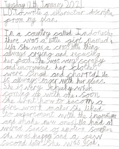 A has written a lovely character description of Lila from the Firework-Maker's Daughter.