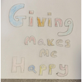 M loves to give to others which makes her very happy. Very kind and thoughtful.
