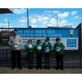 Mr Plumley and the RRS Team celebrating winning 25 Soccer Aid footballs in 2018