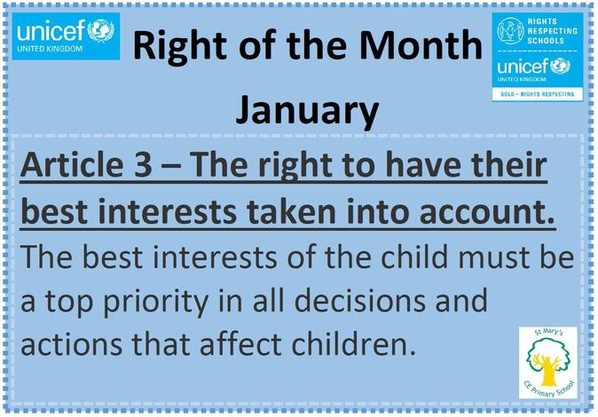 The Right of the Month for January is Article 3.