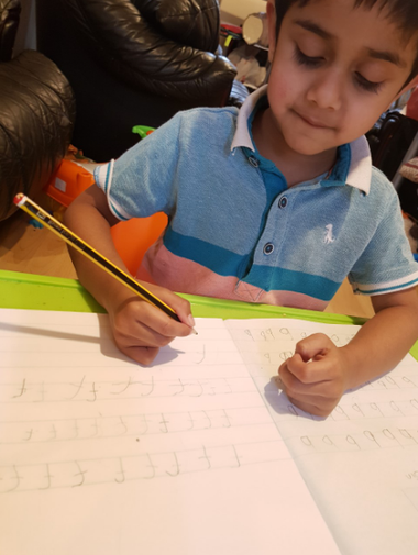 Hanaash is being a busy bee during his Remote Learning!