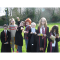 Pupils dressed up as Harry Potter characters.