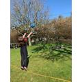 Emily doing a bit od sport in the garden.