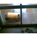 One of the bins broke the window.