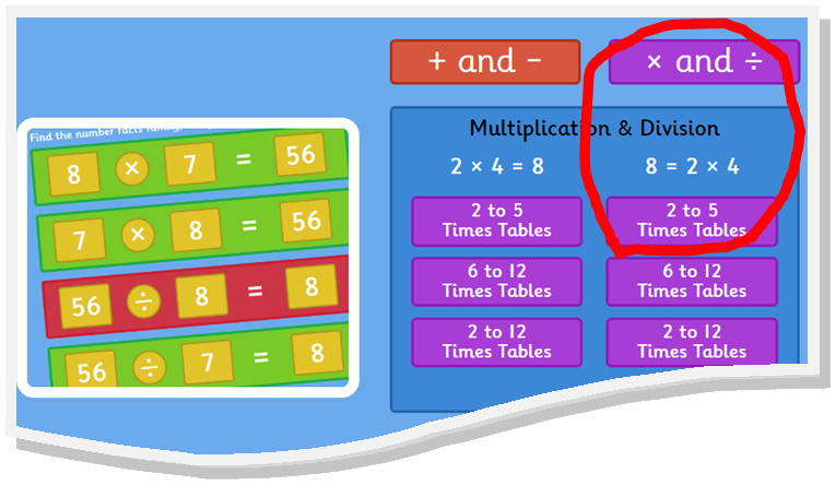 choose the purple block and 2 to 5 times tables