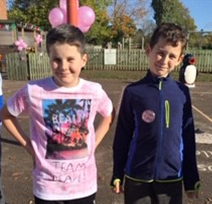 The children have embraced pink ready for today's run