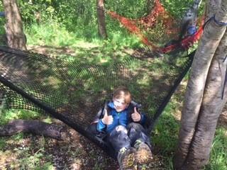 Enjoying the spoils of making a hammock...