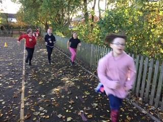 Year 4 completing their run in support of their amazing teacher Mrs Dean