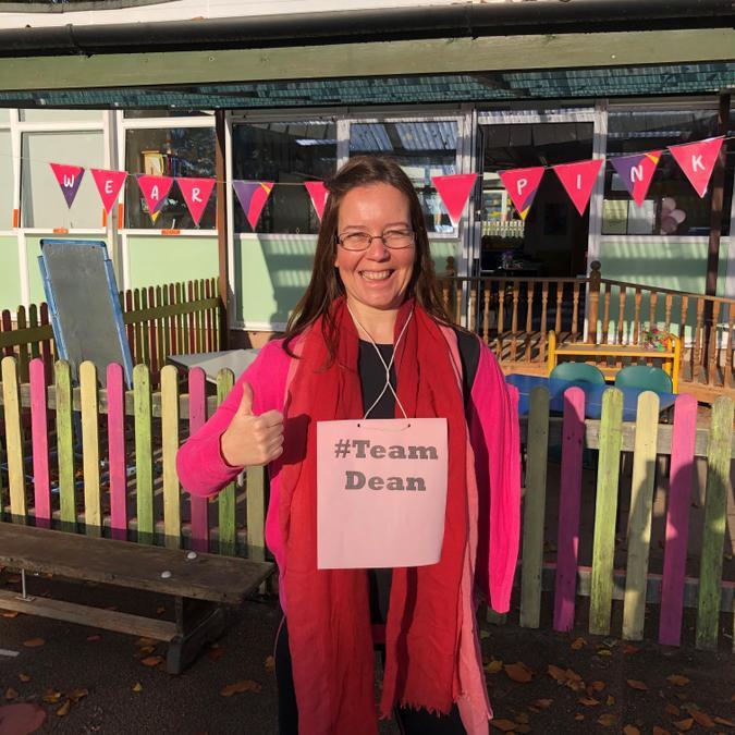Mrs Pullen is ready for the fun run # Team Dean