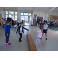 We've practiced some small badminton rally games.