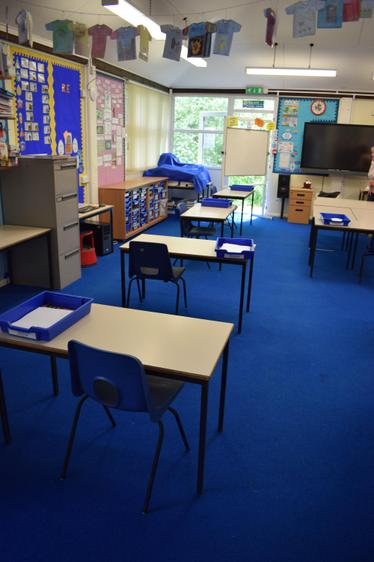 One child per desk for their time in school
